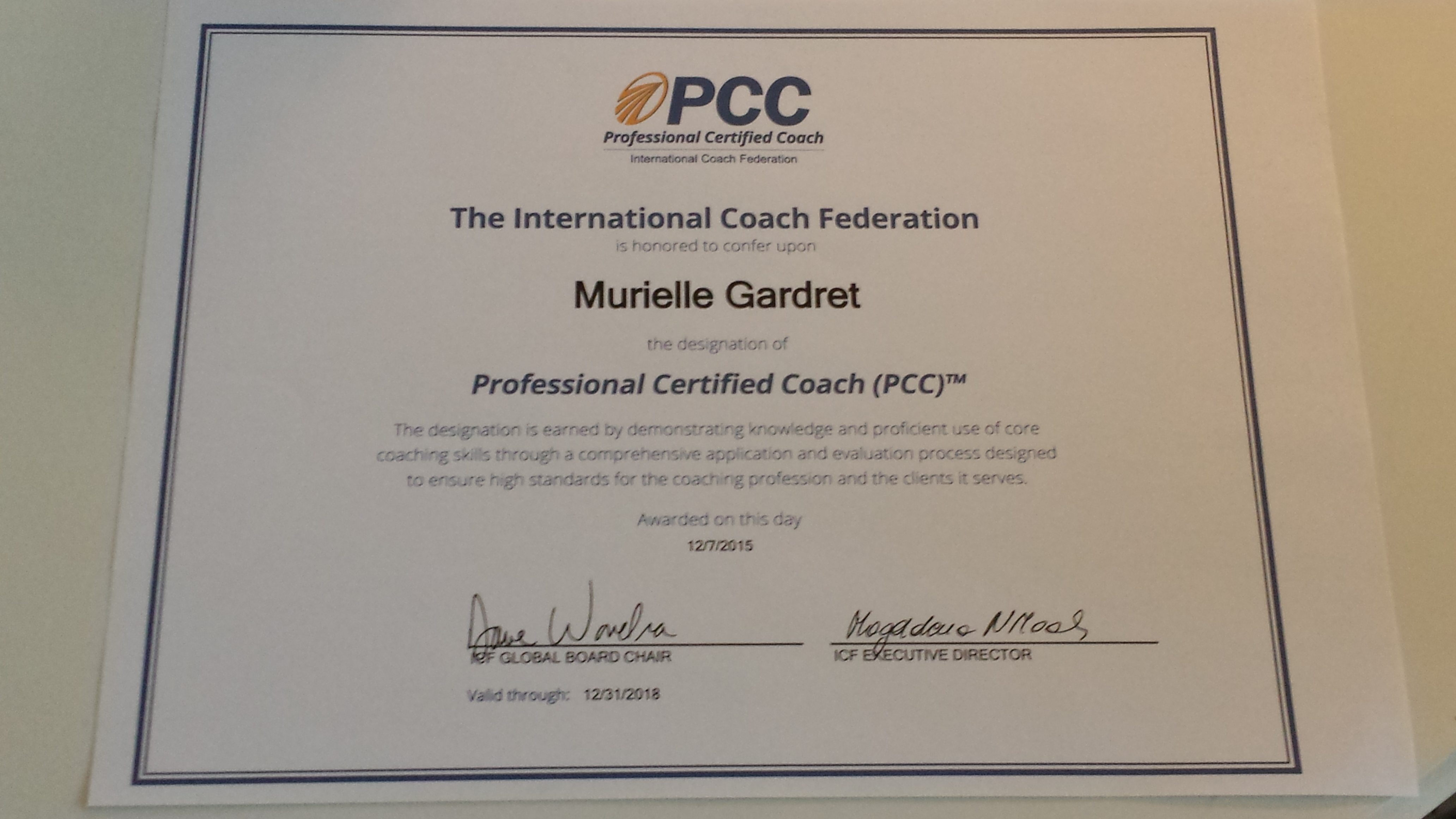 Credential Certificate ICF PCC
